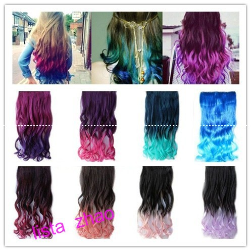 In Style Hair Color New Style Fashion Rainbow Fading Color Curly Clip On Hair .
