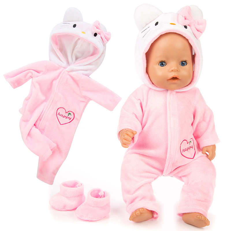 Baby New Born Doll clothes 18 inches 43cm Baby clothes Pink Blue Red unicorn kitten Doll Accessories For baby Toy Accessories