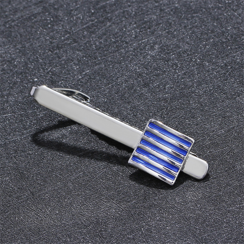 Brands High Quality Blue Enamel Square Tie Clips & Cufflinks For Men Women Shirt Tie Clips Wedding Gift Men Jewelry