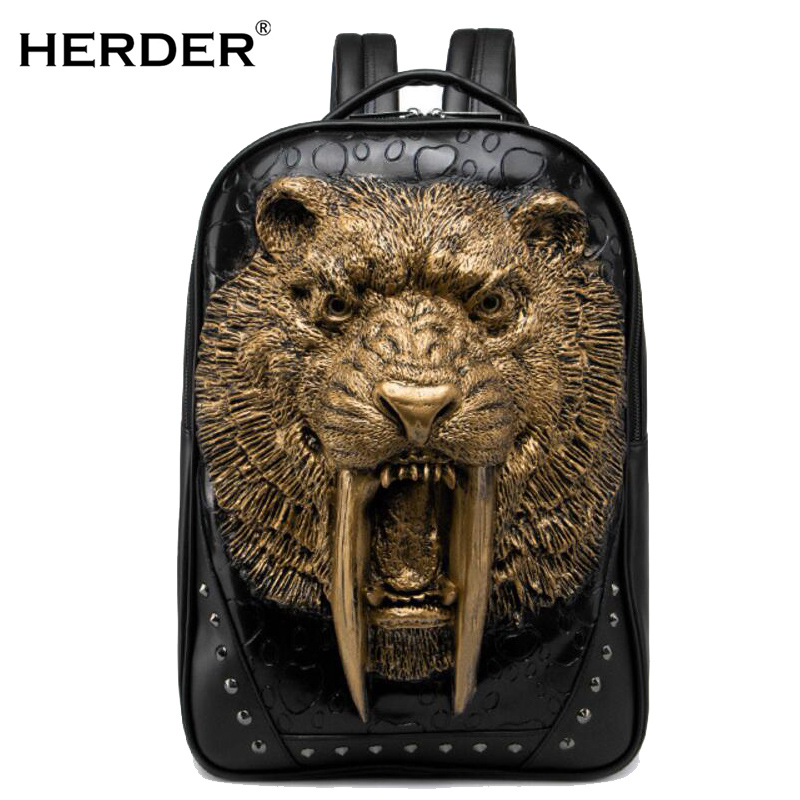 HERDER 2018 Luxury brand Men Women Backpacks 3D tiger printing leather Creative personality Laptop Teenager School travel Bag 3d tiger personality creative removable wall sticker