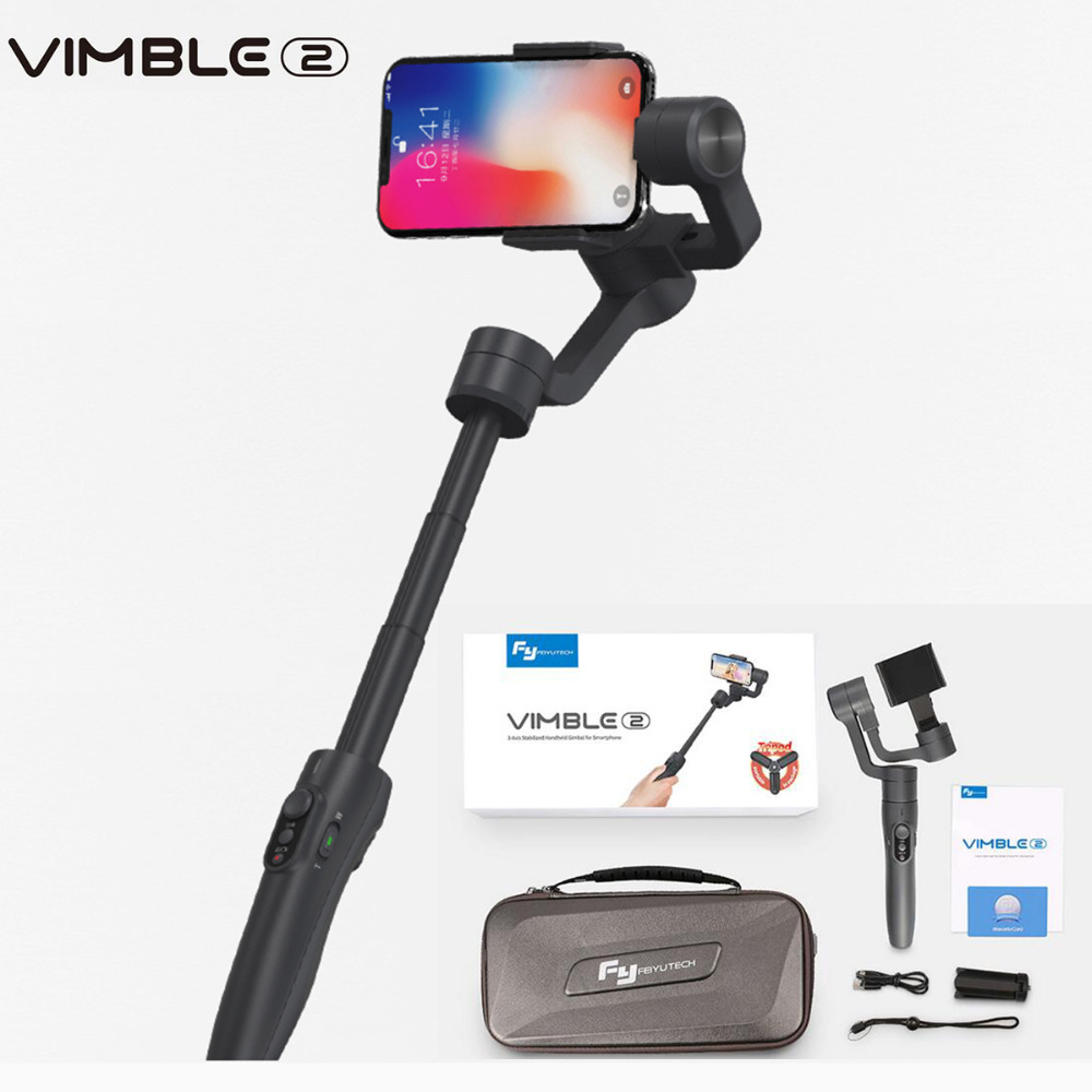Feiyutech Vimble 2 trois axes Smartphone cardan extensible Selfie stabilisateur pour iPhone X GoPro 6 5 Samsung VS Zhiyun lisse 4
