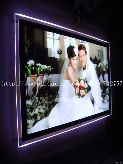 Wall Mounted Acrylic Picture Frame Ultra Thin Led Illuminated Poster ...