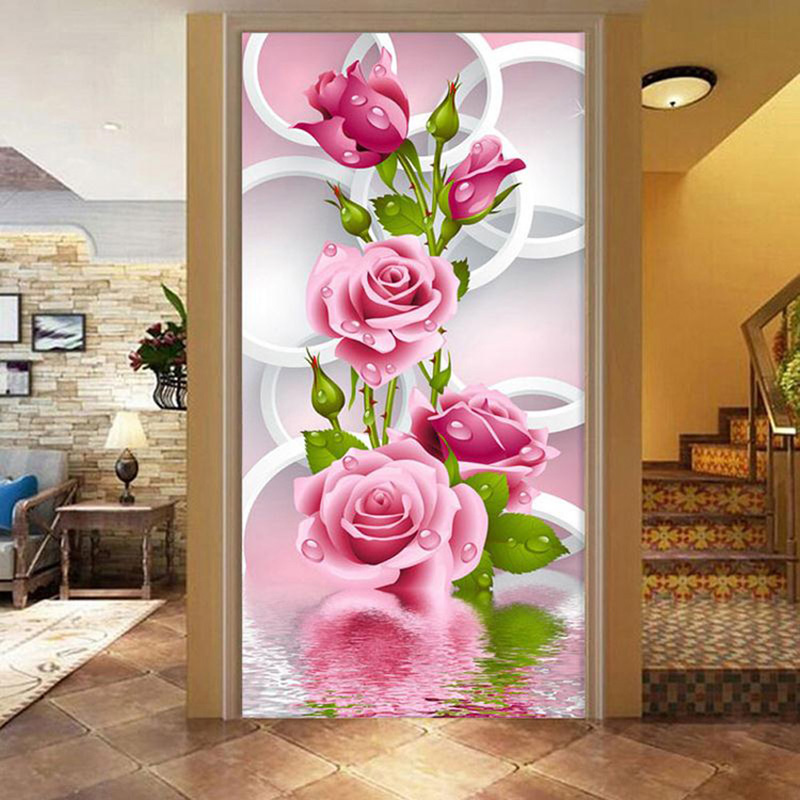 Embroidery 5D Diy Diamond Painting Cross Stitch Pink Rose Round Diamond Flower Vertical Home Decor Needlework