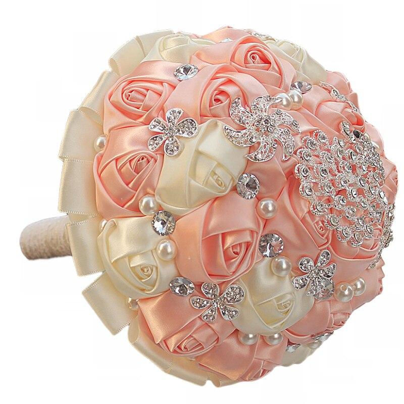 WifeLai-A 1Piece Gorgeous Diamond Peacock Cream Pink Silk Wedding - Bröllopstillbehör - Foto 3