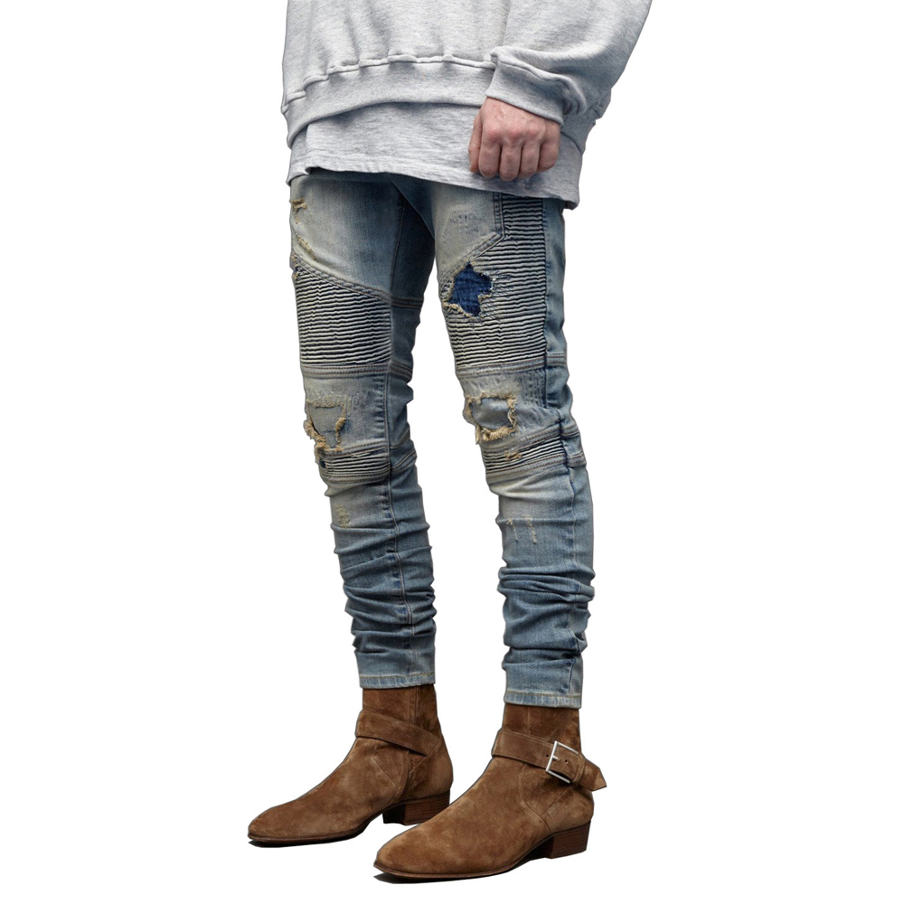 Men   Jeans   Fashion Stretch Hip Hop Skinny Biker   Jeans   Y5022