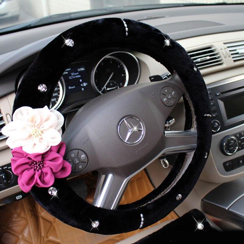 Flor color de rosa de cristal Auto volante invierno de felpa piel - Accesorios de interior de coche - foto 4