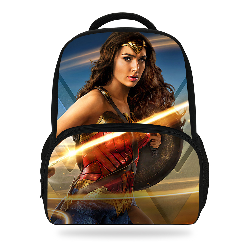 Us 17 59 Off 14inch Fashion School Bag For Kids Cartoon Character Wonder Woman Backpacks Boys Children S Bookbag Agers Mochila In