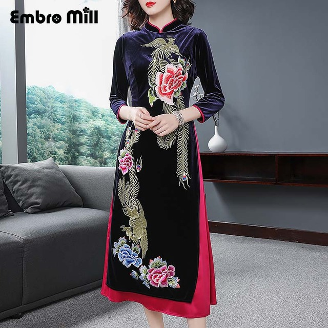 Chinese traditional clothing women blue velvet dress winter vintage floral  embroidery elegant lady beautiful Qipao dress S-XXXL 3a5f90b25cb3