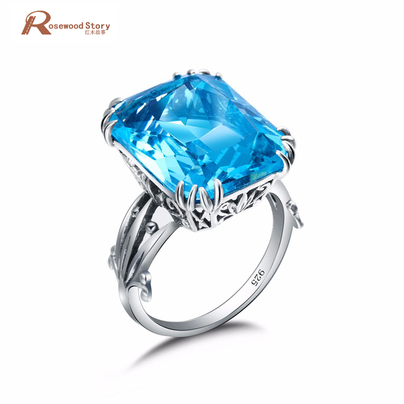 Brand New Size 5-10 Luxury Vintage Jewelry Blue Crystal Stone Ring 925 Sterling Silver Engagement Ring For Women Wedding Gift