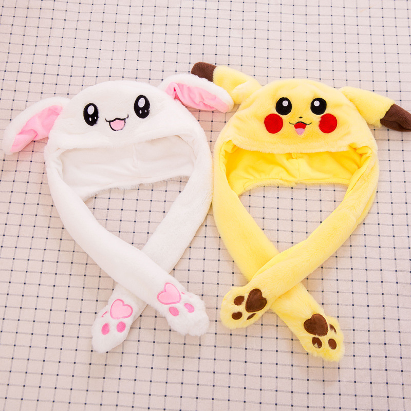 Hot Selling Cute Rabbit / Pikachu Hat Funny Air Float Filling Ear Moving Cap Cartoon Plush Stuffed Toys Gifts