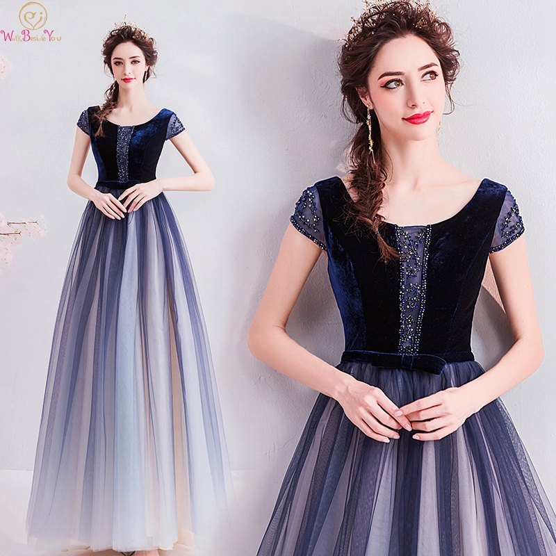 2019 Special Navy Blue Gradient Beading   Prom     Dresses   Women Long A Line Elegant High Quality abendkleid Formal Evening Party Gown