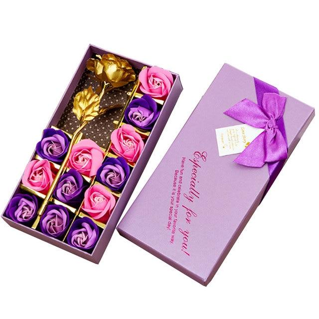 38098970e5cf5 US $4.37 9% OFF|12PCS/Set 24K Gold Foil Soap Flower Romantic Rose Flower  Preserved Flower Valentine's Day Eternity Rose gift mother's day-in ...
