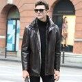 2015 nuevos Mens del invierno piel De pie engrosamiento cuello y guarda brisa De lana Top De cuero chaquetas hombres abrigo Lether Jaqueta De Couro M-3XL