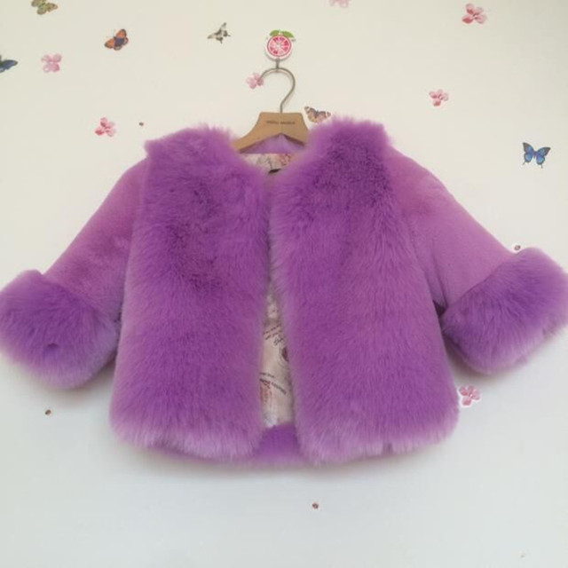 123ab5bb61b1 Furry 2018 Autumn Winter Jacket Faux Fox Fur Coat For Girls Baby ...