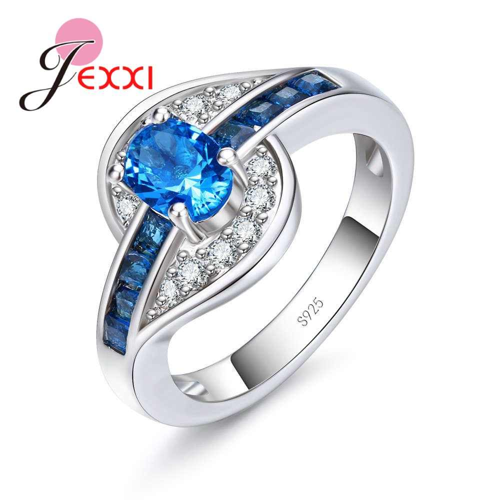 Big Promotion Special Blue Cubic Zirconia  Wonderful Engagement  Pure 925 Sterling Silver Rings Ladies Jewelry Accessory