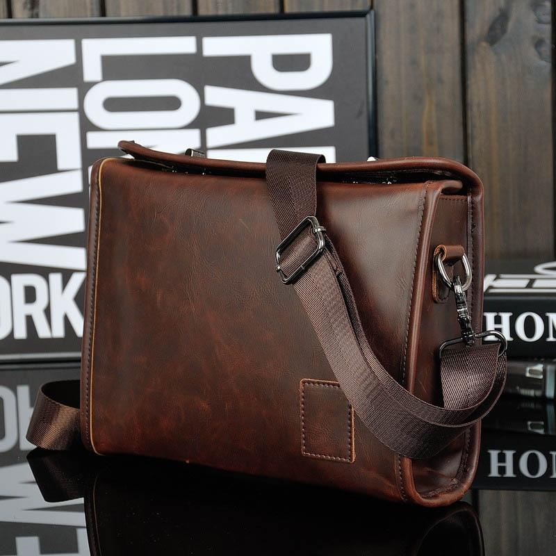 Crazy Horse PU Leather Men Briefcase Brand Luxury Men's Messenger Bag Male Laptop Bag Business Fashion Shoulder Bags Travel Bag