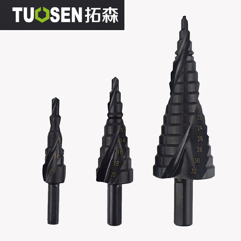 3pcs HSS Cobalt Step Drills 4-32MM Nitrogen High Speed Steel Spiral for Metal Cone Drill Bit Set Triangle Shank Hole Cutter doersupp 5pcs hss cobalt multiple hole 50 sizes step drill bit set w aluminum case metal drilling top quality