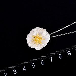 Image 4 - Lotus zabawy prawdziwe 925 Sterling Silver Handmade Fine Jewelry 18K złota kwitnące maki wisiorek kwiat bez naszyjnik dla kobiet