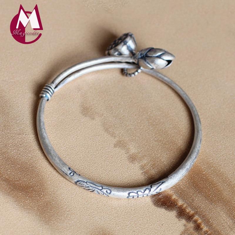 4122d62a4dc1 Vintage Lotus Seedpod Flower Tassel Bangle 925 Sterling Silver Bracelets  Bangles For Women Wedding Best Gifts Fine Jewelry SB02
