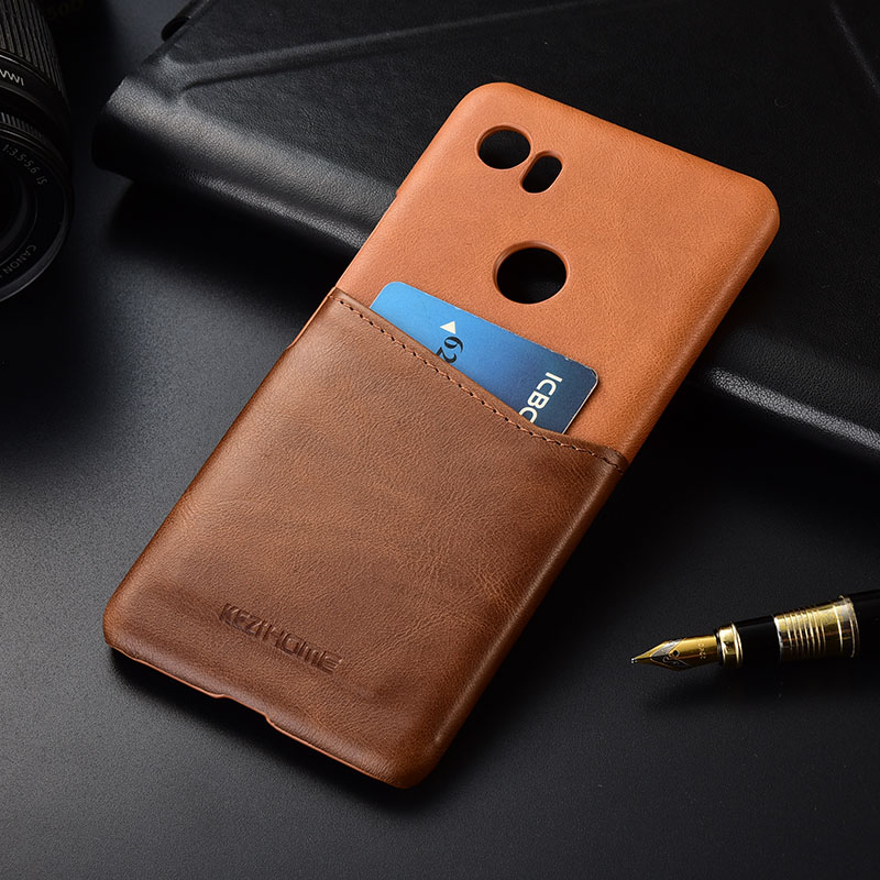 Case For Google Pixel 2XL Kezihome Luxury Genuine Leather Hit-Color Business With Card Pocket Hard Back Cover For Google 2XL