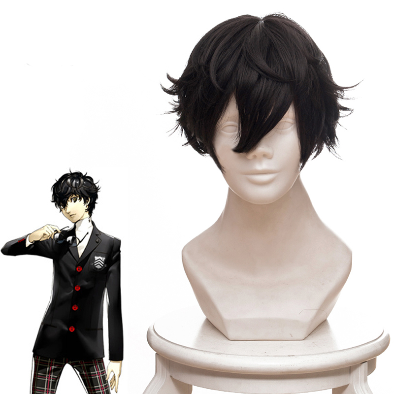 Anime Game Persona 5 Brown Short Curly Hair Cosplay Wig For Men Boys