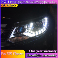 Car Styling for VW Tiguan Headlights 2013 New Tiguan LED Headlight LED DRL Bi Xenon Lens Headlight High Low Beam Parking