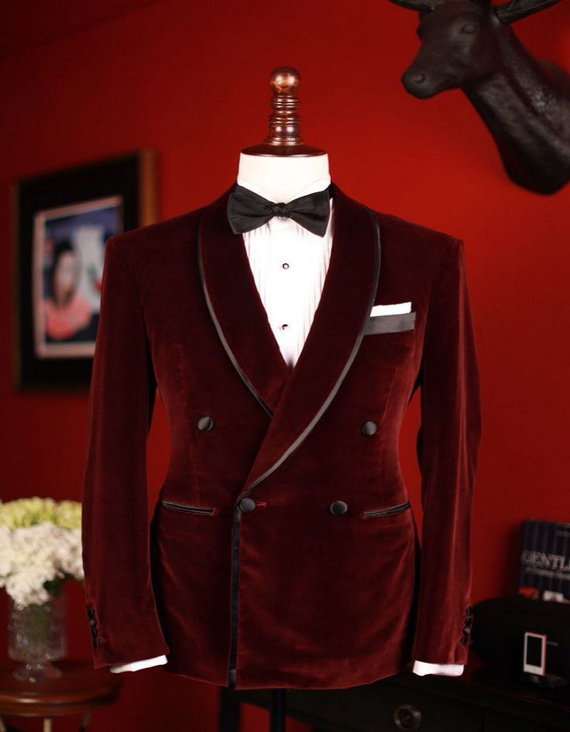 New Men Wedding Groom Velvet Dinner Jacket Double Breasted Velvet Groomsman Suit Custom Made Man Suit (jacket+pants+bow Tie)