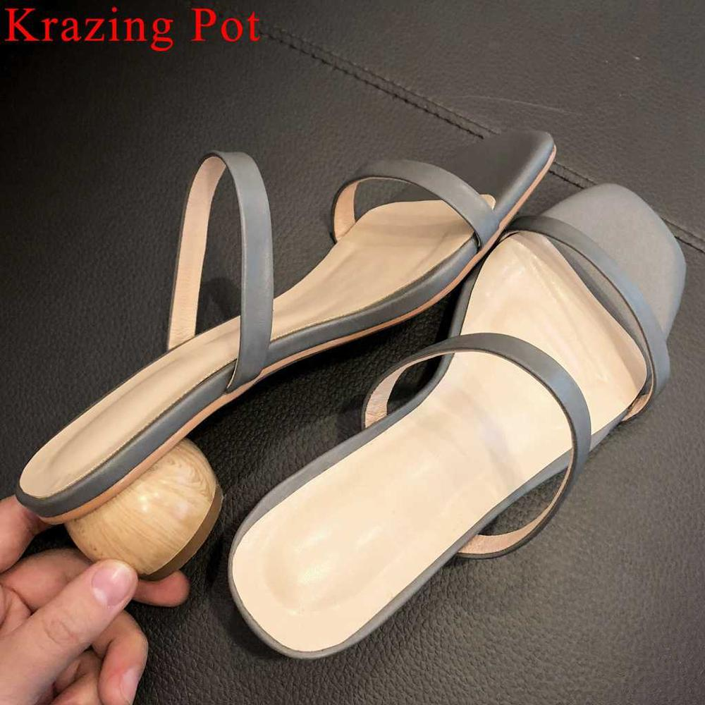 Krazing Pot hot selling natural leather concise style peep toe shoes art design wood heels simple