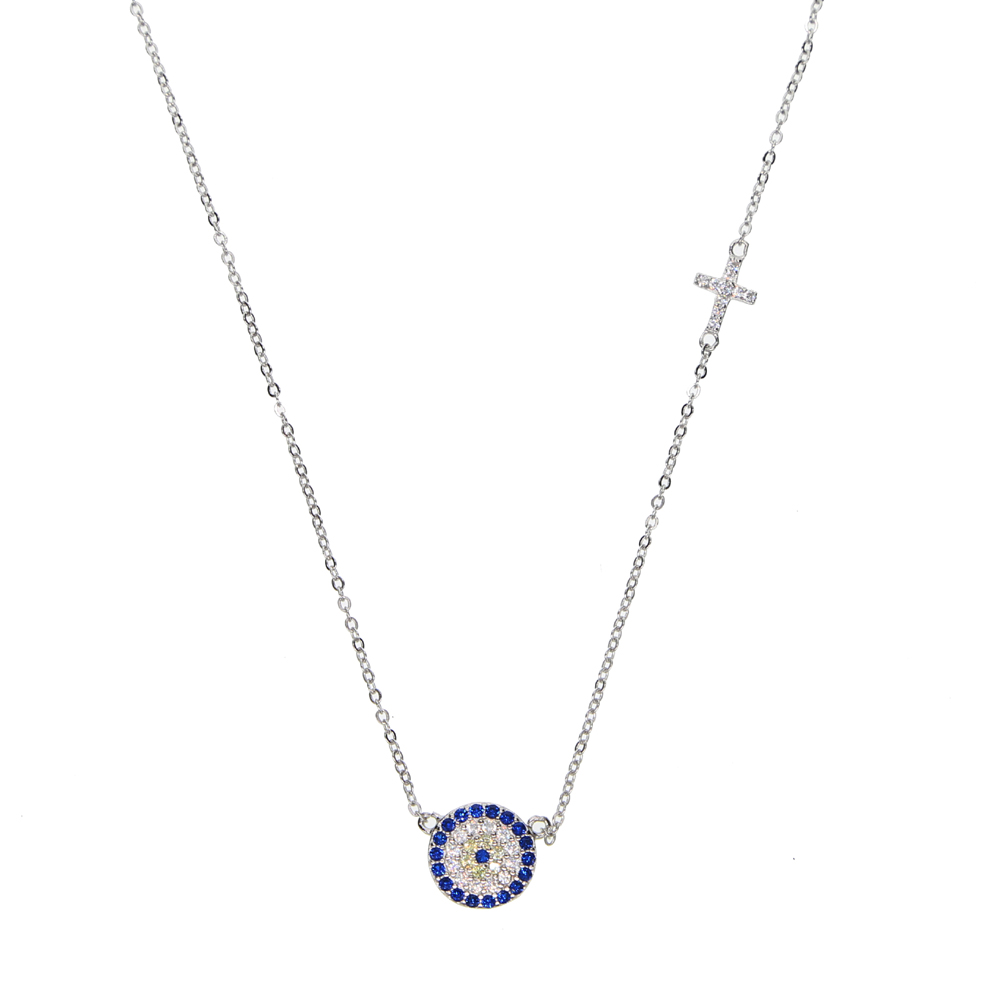 blue CZ evil eye disco charm cz cross dainty silver chain girl women evil eye jewelry 925 sterling silver lucky eye necklace 925 sterling silver jewelry necklace pendant retro evil vajra pestle jiangmo avoid evil spirits musical instruments