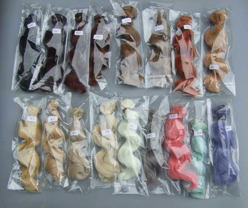 15 cm hoge temperatuur grote golf handgemaakte doek pop pruiken diy Texitle pop krul haar