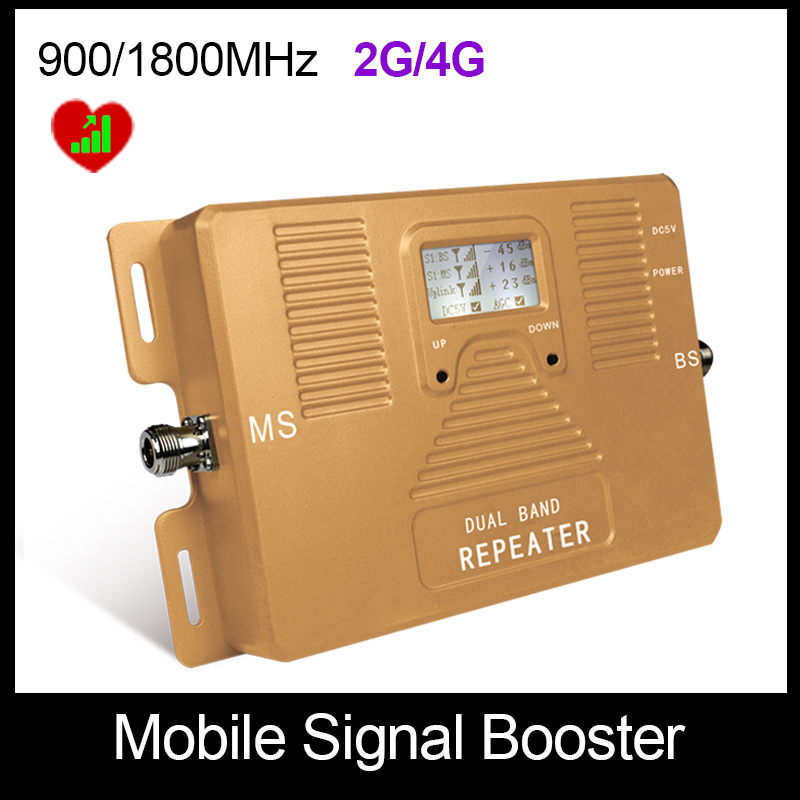 Free shipping only repeater dual band 2G 4G 900 1800mhz cell phone signal booster top quality