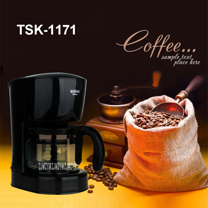 220V/50Hz Fully Automatic Coffee Machine  Cups Coffee Machine for American Coffee Machines food grade PP material TSK-1171 0.6L home intelligent fully automatic american style coffee machine drip type small is grinding ice cream teapot one machine