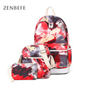 ZENBEFE 3 Pcs/Set Camouflage Printing Backpacks Fashion Women'S Rucksack Durable School Bag For Student Capacity Travel Daypack