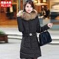 Envío libre más tamaño wadded chaqueta femenina medio-largo 2016 de invierno negro abajo chaqueta de algodón acolchado ropa de abrigo 3xl 4xl 5xl