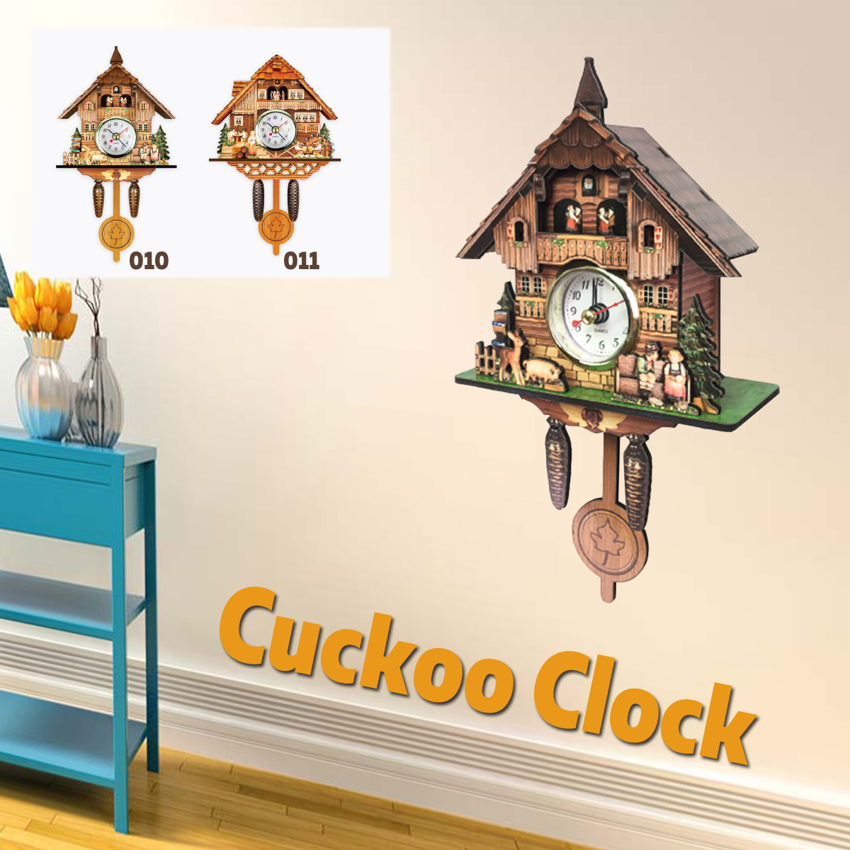 Cuckoo Clock Living Room Wall Clock Bird Alarm Clock Watch Modern Brief Children  Decorations Home Day Time Alarm