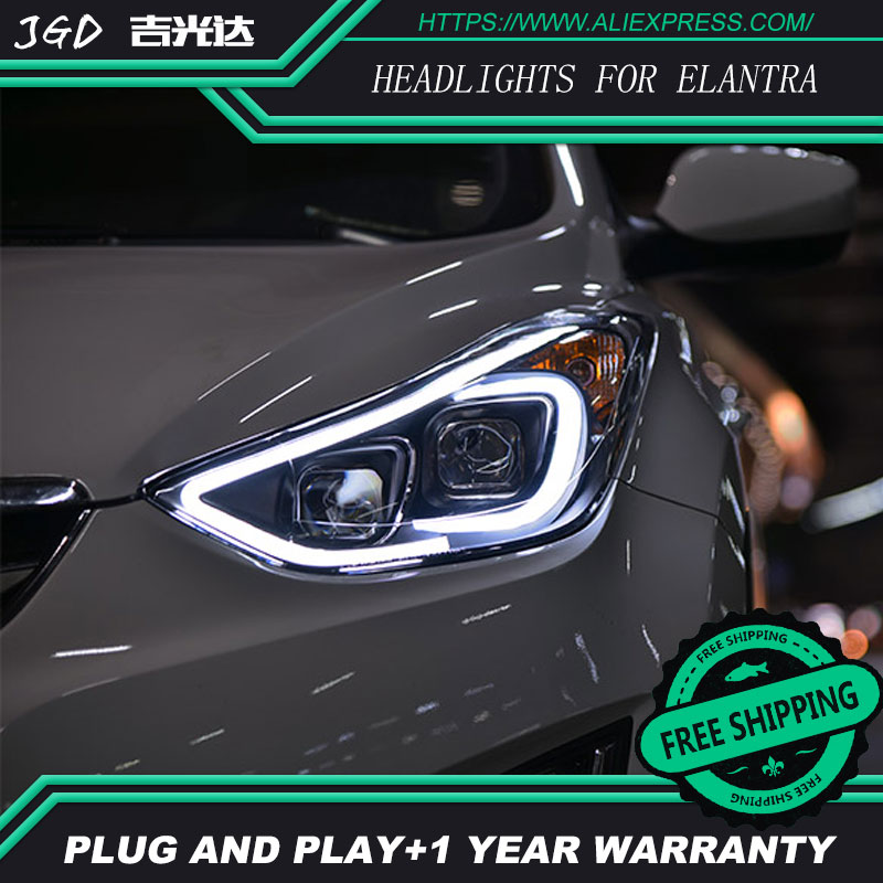 car styling For Hyundai Elantra headlights U angel eyes DRL 2012-2016 For Sagitar LED light bar DRL Q5 bi xenon lens h7 xenon new car styling auto h4 led bulb h7 lighting car led 12v lights h4 h7 led lamps light bulbs headlights for cars led headlights