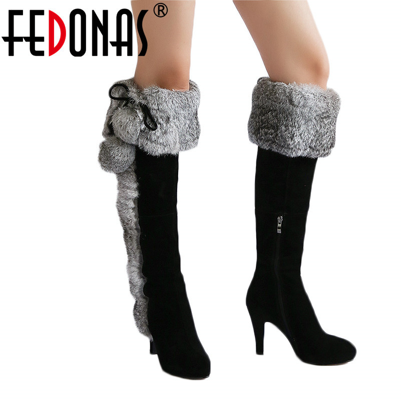 FEDONAS 1New Women Over The Knee Boots Autumn Winter Warm Cow Suede High Heels Shoes Woman Rabbit Fur Luxury Party Snow BootsFEDONAS 1New Women Over The Knee Boots Autumn Winter Warm Cow Suede High Heels Shoes Woman Rabbit Fur Luxury Party Snow Boots