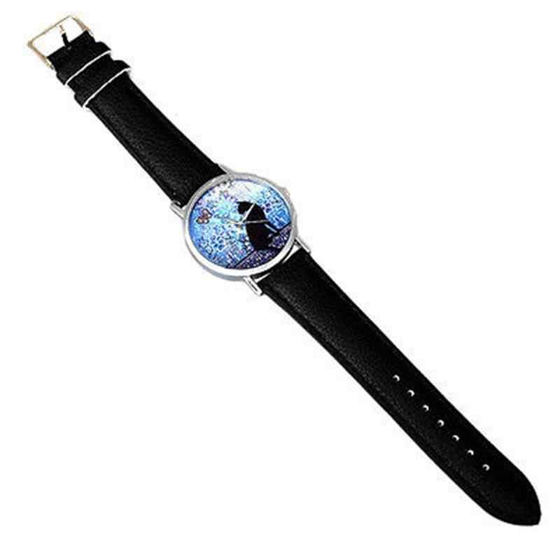 Gorąca sprzedaż duży oko kot kobiet zegarki skórzany zegarek kwarcowy na co dzień studenci zegarki na rękę