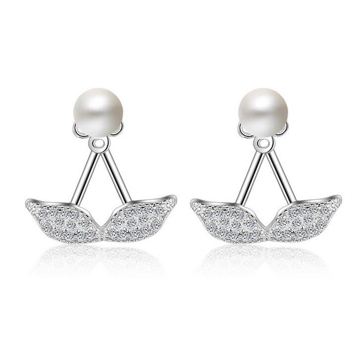 High quality fashion beard imitation pearl women 925 sterling silver ladies stud earrings jewelry female gift cheap in Stud Earrings from Jewelry Accessories