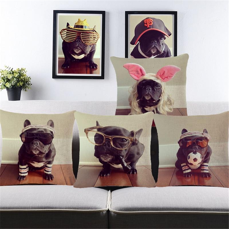 Bull Terrier Pug Puppies Dog Pouf Pilow ბამბის - სახლის ტექსტილი - ფოტო 1