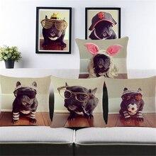 цена на Bull Terrier Pug Puppies Dog Pouf Pilow Cotton Linen Decorative Throw Pillow Animal Cushion Covers Case Vintage Home Decor b64