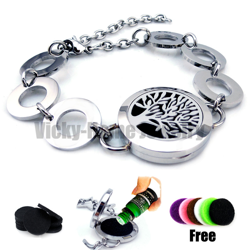Round Silver Tree of Life (25mm) Bracelet Aromatherapy / Essential Oils Aromatherapy Locket Stainless Steel with Felt Pads