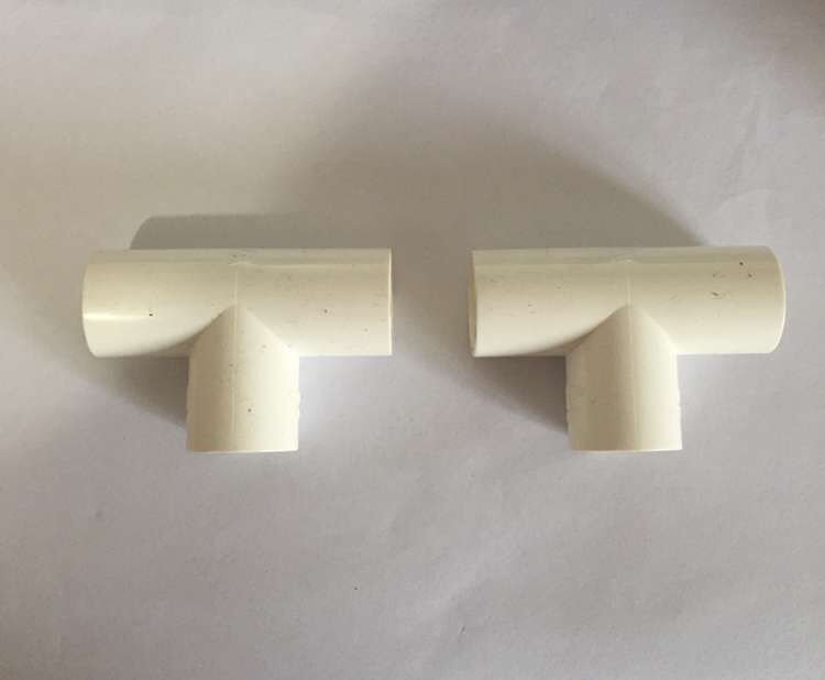 2 Pcs <font><b>T</b></font> Type 3 Way White <font><b>PVC</b></font> 20mm Inner Dia Wire Pipe Fitting <font><b>Connector</b></font> image