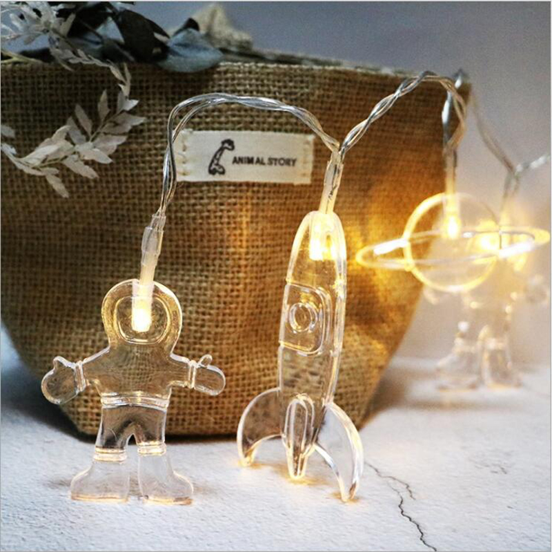 Quadurple Baby Shower Party Decoration Outer space Led String Lights The astronauts Spaceship Rocket Mars Home Decor for kids astronauts in space