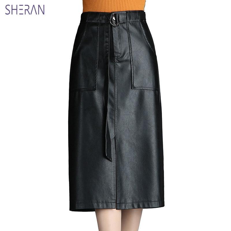 2018 Autumn Winter PU Leather Skirt Women A line Christmas Skirt Knee Length Female High Waist Black Skirts Womens Jupe Femme