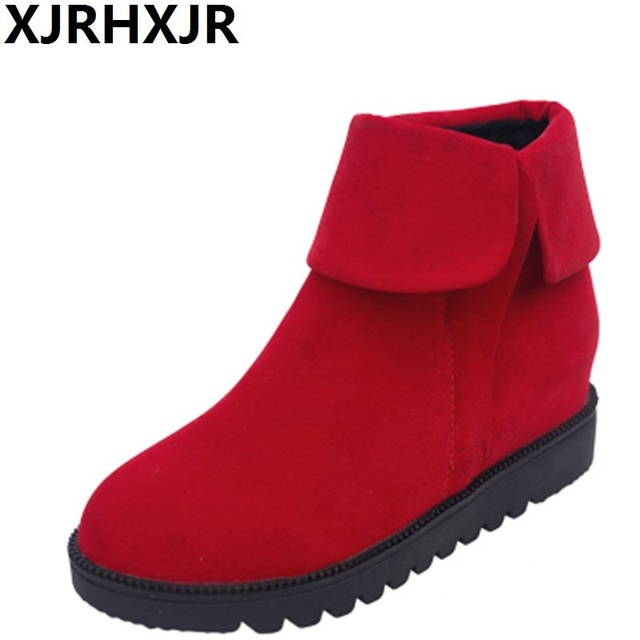 14f995a75ff XJRHXJR Korea Version Martin Boots Round Toe Shoes Woman Fashion Ankle  Boots Flat Platforms Autumn Winter Casual Shoes Black Red