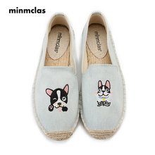 MInmclas Fashion Embroidery DOG Comfortable Ladies Womens Casual Espadrilles Shoes Breathable Flax Hemp Canvas Girls Slippers