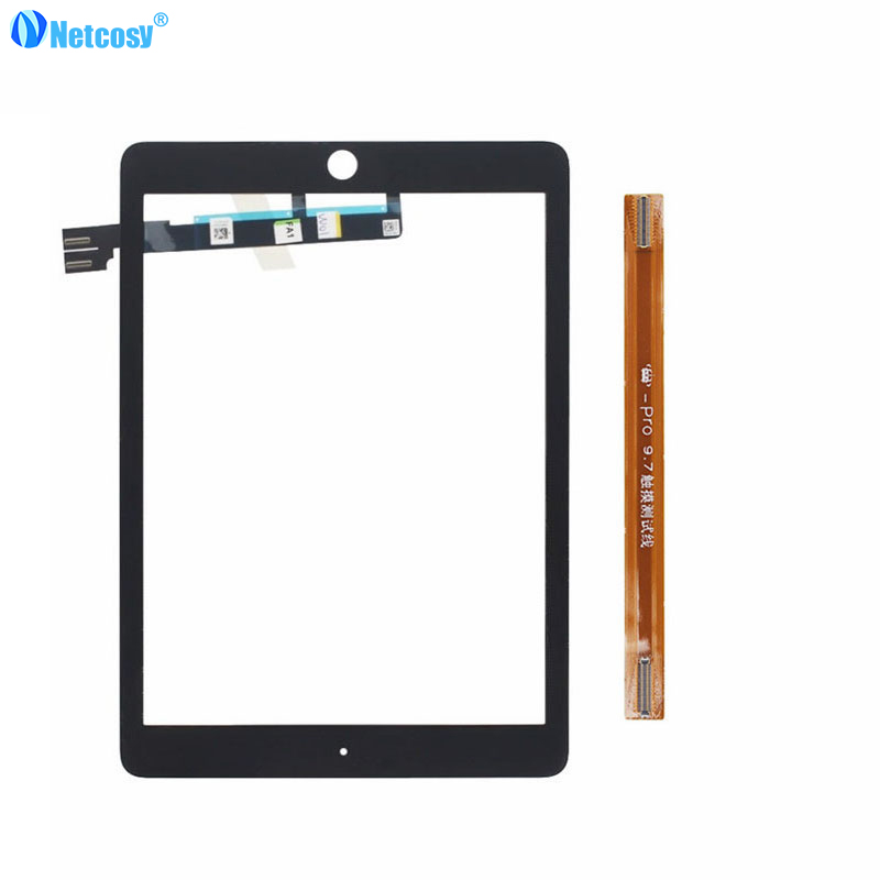 Netcosy Touch screen digitizer glass panel repair For ipad pro 9.7 tablet touch panel & TP extended test flex cable Black/White touch screen panel glass digitizer for korg m3 73 xpanded