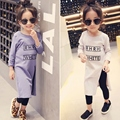 2016 Spring Girls Summer Shirt Children Fashion Letters Shirt Long Style High Open Fork Shirt Kids Basic Shirt, 2-6Y,