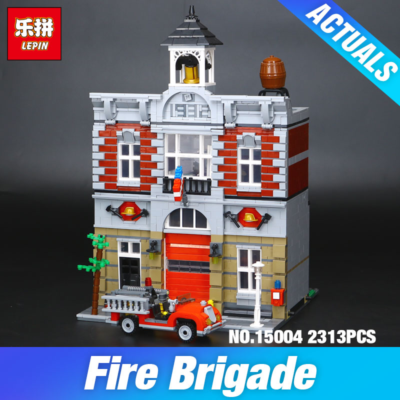 Lepin 15004 Model Doll House Building Kits 2313Pcs Blocks City Street Fire Brigade Educational Compatible With 10197 Child's toy dhl lepin 15004 2313pcs city fire brigade model doll house building kits assembing blocks compatible with legoed 10197